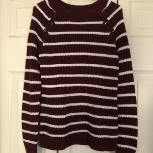 SO Maroon and White Scoop Neck Knit Sweater size L
